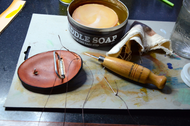 sewing a leather belt buckle