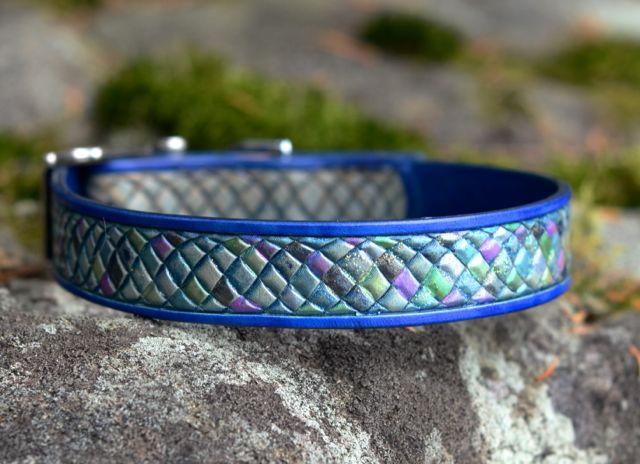 Leather dog collar saluki feathers for Fish dog collar